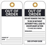 OUT OF ORDER - Vinyl or Card Stock Accident Prevention Tags