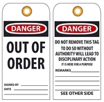 DANGER OUT OF ORDER - Vinyl or Card Stock Accident Prevention Tags