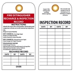 FIRE EXTINGUISHER RECHARGE & INSPECTION RECORD - Vinyl or Card Stock Tags