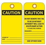 BLANK CAUTION - Vinyl or Card Stock Accident Prevention Tags