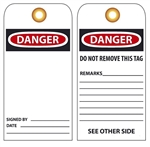 BLANK DANGER - Vinyl or Card Stock Accident Prevention Tags