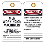 DANGER MEN WORKING ON THIS EQUIPMENT - Vinyl or CardStock Accident Prevention Tags