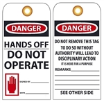 DANGER HANDS OFF DO NOT OPERATE - Vinyl or Card Stock Accident Prevention Tags