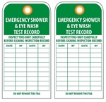 EMERGENCY SHOWER & EYEWASH TEST RECORD - Vinyl or Card Stock Inspection Tags
