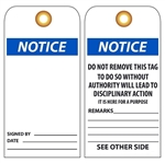 BLANK NOTICE - Vinyl or Card Stock Accident Prevention Tags