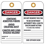 CONTAINS ASBESTOS FIBERS Vinyl or CardStock Tag, AVOID CREATING DUST, CANCER AND LUNG DISEASE HAZARD