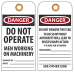 DANGER DO NOT OPERATE MEN WORKING ON MACHINERY - Vinyl or CardStock Accident Prevention Tags