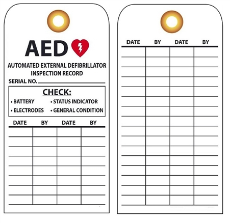 AUTOMATIC EXTERNAL DEFIBRILLATOR (AED) INSPECTION Tag