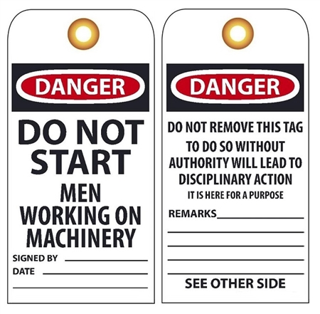 DANGER DO NOT START MEN WORKING ON MACHINERY - Vinyl or CardStock Accident Prevention Tags