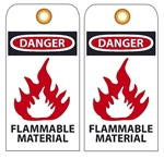 DANGER FLAMMABLE MATERIAL - Vinyl or CardStock Accident Prevention Tags