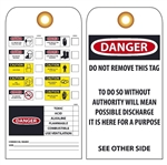 PERSONAL PROTECTION AND CHEMICAL HAZARD Tag - Vinyl or Card Stock Accident Prevention Tags