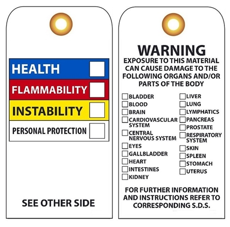 CHEMICAL HAZARD TAG - Vinyl and Card Stock Accident Prevention Tags