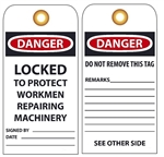 DANGER LOCKED TO PROTECT WORKMEN REPAIRING MACHINERY - Vinyl or CardStock Accident Prevention Tags
