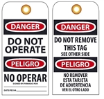 BILINGUAL DANGER DO NOT OPERATE - Vinyl or Card Stock, Accident Prevention Tags