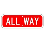 ALL WAY SIGN - Choose from Engineer Grade or High Intensity Reflective