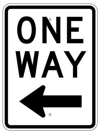 ONE WAY arrow left Sign - 24 X 18 Engineer Grade or High Intensity Reflective