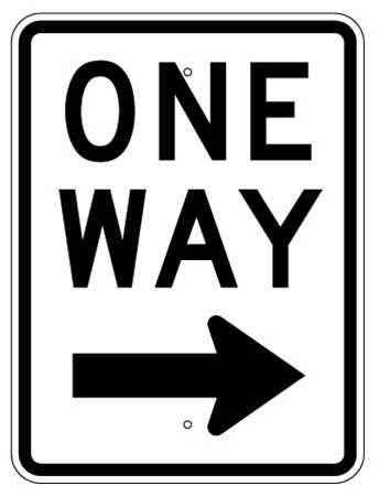 ONE WAY arrow right SIGN - 24 X 18 Engineer Grade or High Intensity Reflective