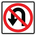 NO U TURN Symbol Sign - 24 X 24 Engineer Grade or High Intensity Reflective Aluminum