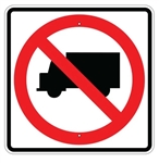 NO TRUCKS Symbol Sign - 24 X 24 Engineer Grade or High Intensity Reflective Aluminum