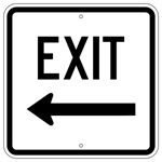 Parking Lot EXIT Arrow Left Sign - 18 X 18 - Type I Engineer Grade Prismatic Reflective