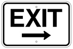 EXIT SIGN arrow right 12 X 18 - Type I Engineer Grade Prismatic Reflective