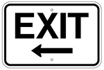 EXIT SIGN arrow left 12 X 18 - Type I Engineer Grade Prismatic Reflective