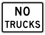 Traffic Sign NO TRUCKS - 24 X 18 - Choose from Engineer Grade or High Intensity Reflective Aluminum.
