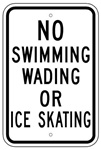 NO SWIMMING, WADING OR ICE SKATING SIGN - 12 X 18 - Type I Engineer Grade Prismatic Reflective - Heavy Duty .80 Aluminum