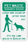 DOG POOP Sign, LEASH AND CLEAN UP AFTER YOUR PET - 12 X 18 - Type I Engineer Grade Prismatic Reflective – Heavy Duty .080 Aluminum