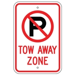 NO PARKING TOW AWAY ZONE SIGN with NO PARKING SYMBOL - 12 X 18 - Type I Engineer Grade Reflective – Heavy Duty .080 Aluminum