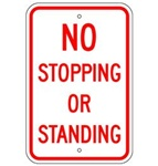NO STOPPING OR STANDING SIGN - 12 X 18 - Type I Engineer Grade Prismatic Reflective – Heavy Duty .080 Aluminum