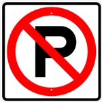 NO PARKING SYMBOL Sign - 12 X 12 or 24 X 24 - Type I Engineer Grade Prismatic Reflective – Heavy Duty .080 Aluminum