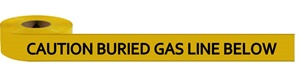 Non-Detectable, Caution Buried Gas Line Below Underground Warning Tape - Available in 3 inch X 1000 feet or 6 inch X 1000 feet rolls