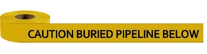Non-Detectable Underground, Caution Buried Pipeline Below Utility Marking Tape - Available in 3 inch X 1000 feet or 6 inch X 1000 feet rolls