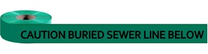 Non Detectable, Underground Caution Buried Sewer Line Below Utility Marking Tape - Available in 3 inch X 1000 feet or 6 inch X 1000 feet rolls