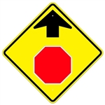 STOP AHEAD SYMBOL Advanced Traffic Warning Sign - 24  X 24, 30 X 30 and 36 X 36 – Engineer Grade, High Intensity and Diamond Grade Reflective Aluminum
