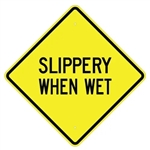 "SLIPPERY WHEN WET Traffic Warning Sign - Choose 24"" X 24"", 30"" X 30"" or 36"" X 36"" Engineer Grade, High Intensity or Diamond Grade Reflective Aluminum"