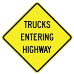 "TRUCKS ENTERING HIGHWAY Sign - Choose 24"" X 24"", 30"" X 30"" or 36"" X 36"" Engineer Grade, High Intensity or Diamond Grade Reflective Aluminum"