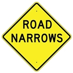 "ROAD NARROWS Traffic Sign - Choose 24"" X 24"", 30"" X 30"" or 36"" X 36"" Engineer Grade, High Intensity or Diamond Grade Reflective Aluminum."