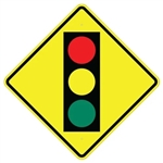 "APPROACHING STOP LIGHT TRAFFIC SIGNAL SYMBOL Sign - Choose 24"" X 24"", 30"" X 30"" or 36"" X 36"" Engineer Grade, High Intensity or Diamond Grade Reflective Aluminum."