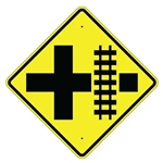 PARALLEL RAILROAD CROSSING CROSS ROAD Sign - 30 X 30 Diamond Shape - Type I Engineer Grade Prismatic Reflective or Type III Prismatic High Intensity Reflective