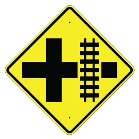Parallel Railroad Crossing Cross Road Sign
