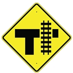PARALLEL RAILROAD CROSSING T  INTERSECTION Sign - 30 X 30 Diamond Shape - Type I Engineer Grade Prismatic Reflective or Type III Prismatic High Intensity Reflective