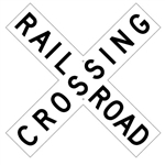 "CROSS-BUCK RAILROAD CROSSING SIGNAL Sign - Choose - 48"" X 9"" - Type I Engineer Grade Prismatic Reflective or Type III Prismatic High Intensity Reflective"