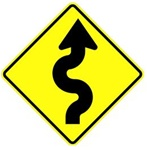 WINDING ROAD SYMBOL RIGHT Sign - Choose - 30 X 30 Diamond Shape - Type I Engineer Grade Prismatic Reflective or Type III Prismatic High Intensity Reflective
