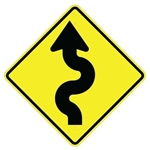 WINDING ROAD SYMBOL LEFT Sign - 30 X 30 Diamond Shape - Type I Engineer Grade Prismatic Reflective or Type III Prismatic High Intensity Reflective