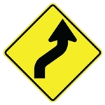 REVERSE CURVE ARROW RIGHT Sign - 30 X 30 - Diamond Shape Type I Engineer Grade Prismatic Reflective or Type III Prismatic High Intensity Reflective