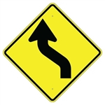 REVERSE CURVE ARROW LEFT Sign - Choose - 30 X 30 Diamond Shape, Type I Engineer Grade Prismatic Reflective or Type III Prismatic High Intensity Reflective