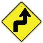 REVERSE TURN ARROW RIGHT Sign - 30 X 30 Diamond, Type I Engineer Grade Prismatic Reflective or Type III Prismatic High Intensity Reflective