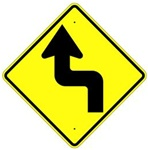 REVERSE TURN ARROW LEFT Sign - Choose - 30 X 30 Diamond Shape, Type I Engineer Grade Prismatic Reflective or Type III Prismatic High Intensity Reflective